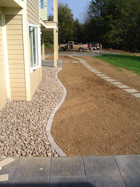 Lawn Install With Stepping Stone Path